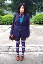 McQueen jacket - scarf - TH t-shirt - yani shorts - NARA2 leggings - NANING9 sho