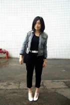 blue heroes denim jacket - blouse - Baby Jane belt -  pants - on & on shoes