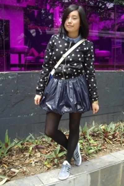 H&M jacket - NANING9 blouse - TH - baleno attitude skirt - adidas original shoes