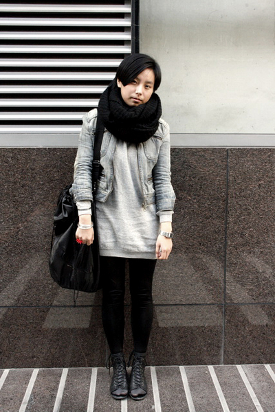 black H&M scarf - blue blues heros denim jacket - gray H&M dress - black ISO pur