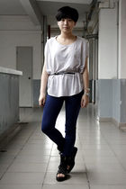 gray wish list t-shirt - black twopercent belt - blue twopercent pants - black s