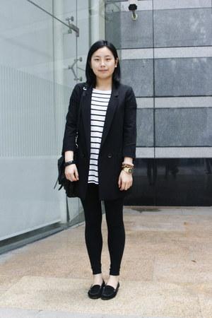 black cotton on leggings - black H&M blazer - black rubi bag - white striped H&M