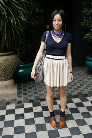 necklace - Zara t-shirt - Baby Jane belt - twopercent purse - skirt - NANING9 sh