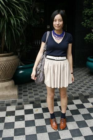 necklace - Zara t-shirt - Baby Jane belt - twopercent purse - skirt - NANING9 sh