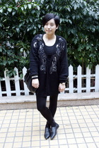 black Worthington cardigan - black g2000 t-shirt - black leggings - silver H&M b