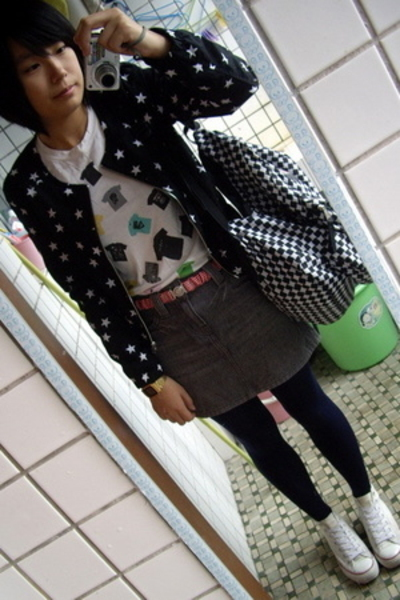 H&M jacket - t-shirt - Mango belt - Izzue skirt - jansport purse - Converse shoe