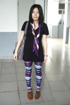 giordano t-shirt - MOSI scarf - twopercent - NARA2 leggings - NANING9 shoes