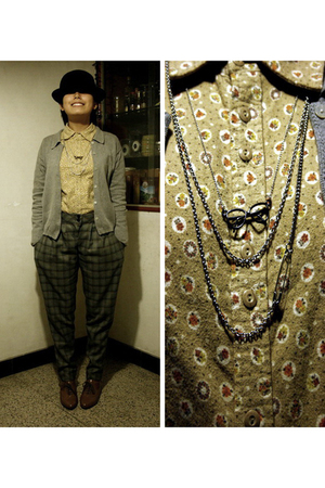 5cm hat - jacket - ODF blouse - Urban Rnewal pants - H&amp;M necklace - CnE shoes