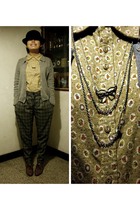 silver H&M necklace - brown oxford CnE shoes - black bowler 5cm hat
