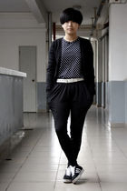 black giordano cardigan - black H&M t-shirt - white Baby Jane belt - black pants