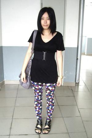 giordano t-shirt - baleno atittude belt - twopercent - Ebase leggings - PEINK sh