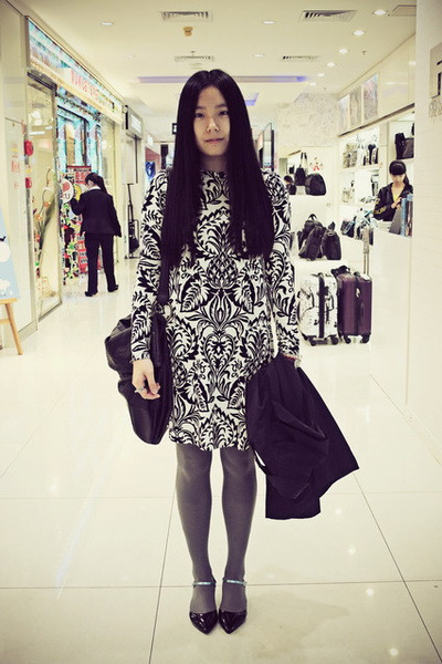 black DIZEN coat - white asos dress - charcoal gray H&M tights - black DIZEN bag