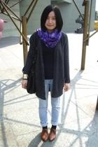 H&M scarf - UNQLO t-shirt - lisamina - Uniqlo jeans - dizen de brand - NANING9 s