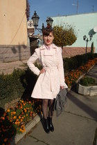 light pink Naf Naf coat - grey Naf Naf bag - black sela stockings