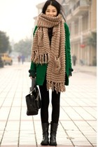 tan scarf - forest green coat