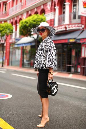 Zara jacket - Totti hat - Chanel bag - Aldo heels - Zara top - Zara skirt