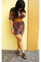 brown Greenhills dress - brown Tomato belt - black sm department store shoes