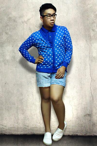 blue Subtlety cardigan - blue Apple Seed shirt - white traffic shoes