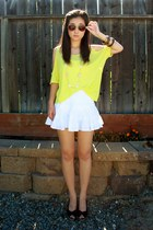 yellow Forever 21 shirt - tawny H&M sunglasses - white Forever 21 skirt