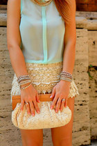 white lace Zara skirt - aquamarine unknown blouse