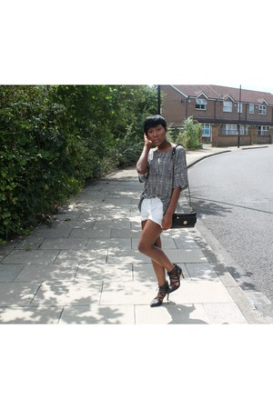 French Connection top - H&M shorts - Kurt Geiger heels