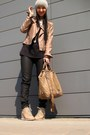 Dark-khaki-bebe-jacket-black-marc-jacobs-shirt-guess-bag-black-zara-pants