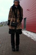 brown Marciano coat - black Jeffrey Campbell boots - Marc Jacobs bag