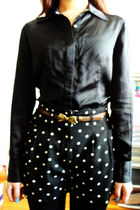 dark brown bow Forever 21 belt - black knit homemade leggings