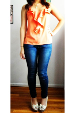 orange Forever 21 top - blue American Eagle jeans - beige American Rag wedges