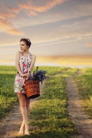 floral dress Vintage costume dress