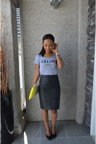 leather Gap bag - leather Forever21 skirt - cotton Celine t-shirt