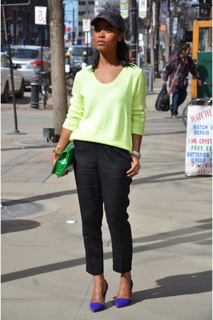 lime green Gap sweater - black H&M pants - navy Aldo heels