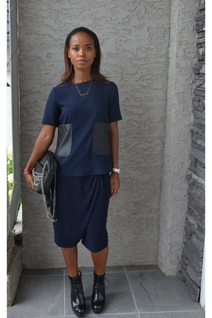 black leather Zara bag - black Forever21 boots - navy Zara shorts