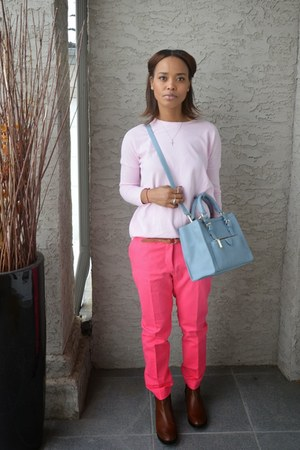 light pink Zara sweater - sky blue Zara bag - hot pink Zara pants