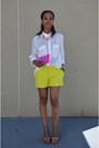 Chartreuse-joe-fresh-shorts-hot-pink-jcrew-necklace-white-levis-blouse