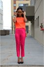 Hot-pink-h-m-pants-orange-g21-heels