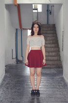 maroon cotton on skirt - Haters hat - beige lace crop top bangkok top