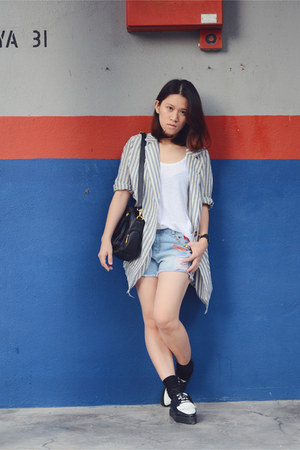 blue random from Bangkok blazer - dark gray Swatch watch - white Zara t-shirt