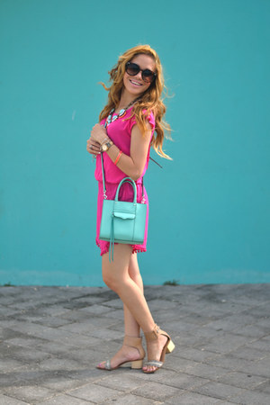 hot pink pom pom Marshalls romper - light blue Rebecca Minkoff bag