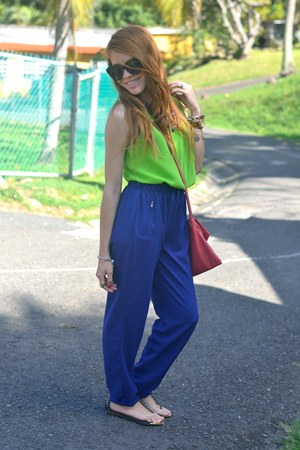 blue Marshalls pants - salmon ostrich Cy Zone bag - lime green Marshalls top