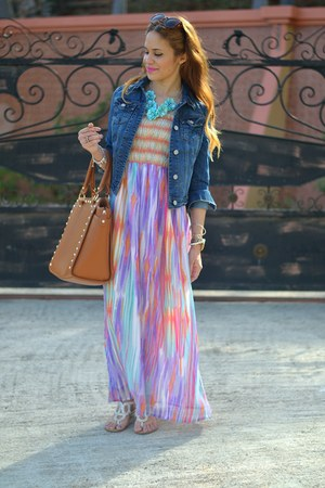 blue denim Aeropostale jacket - pink maxi Burlington dress