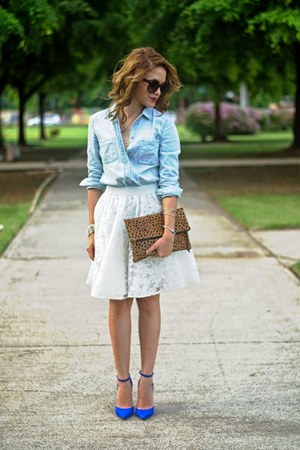 white embroidered Forever 21 skirt - light blue chambray calvin klein shirt