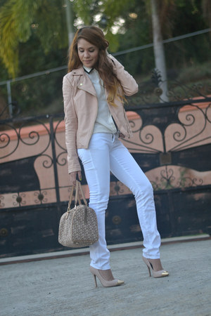 white Marshalls jeans - white JCrew shirt - tan DKNY bag