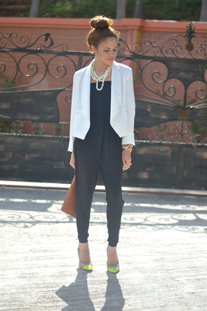 white Burlington blazer - tawny ostrich Marshalls bag - black 579 jumper