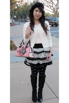 white Forever21 skirt - pink Guess shirt - American Eagle cardigan - pink Juicy 