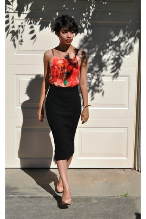H&M skirt - sheer floral Forever 21 top - Zara heels