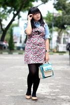 floral print dress - sky blue denim shirt - black H&M tights - aquamarine bag