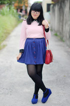 pink top - blue shoes - black tights - ruby red satchel bag - navy skirt