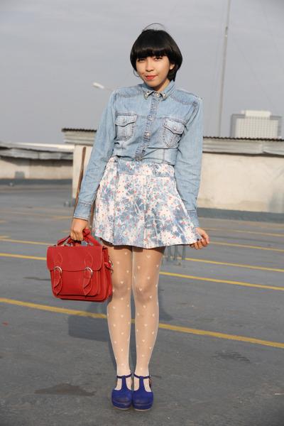 sky blue denim shirt - blue platform shoes - ruby red satchel bag