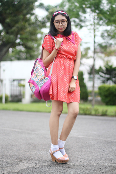 hot pink backpack bag - salmon dress - white socks - peach clogs